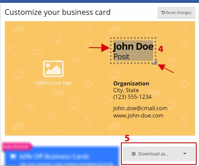 Captura de tela do site Business Card Maker