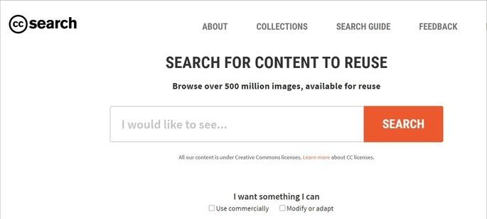 Home do site de pesquisa CC Search