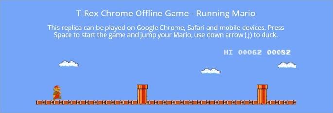 Versão do jogo do dinossauro com o Mario
