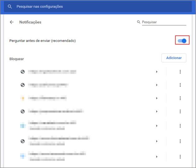 ativar e desativar notificações do Chrome