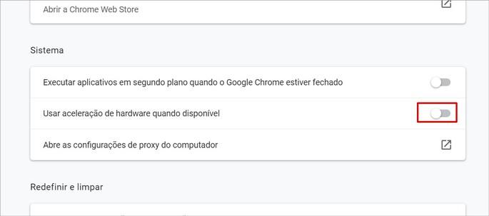 Configurações de Sistema do Chrome