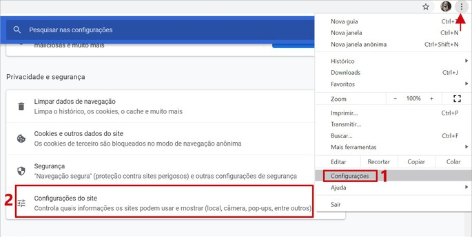Captura de tela do menu de opções do Google Chrome