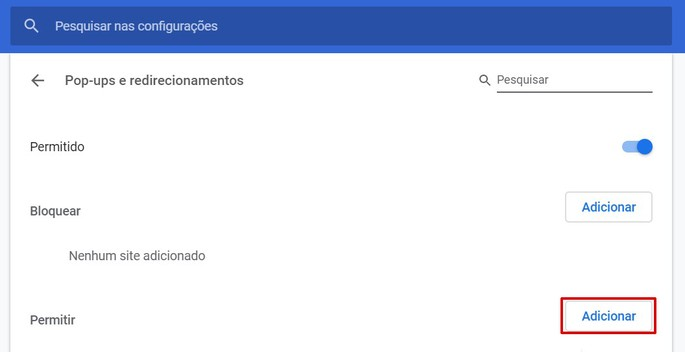 Captura de tela das configurações do Chrome