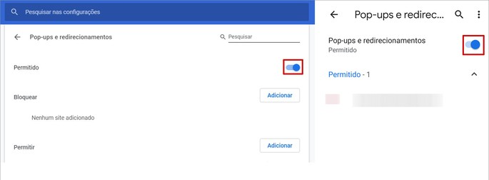 Captura de tela das configurações do Google Chrome