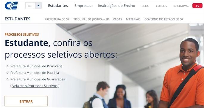 página de estudante do CIEE