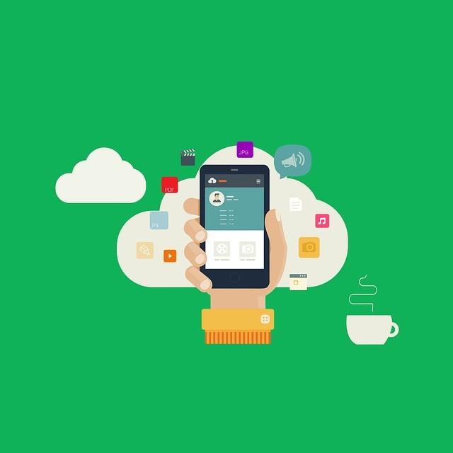 Ilustraçao de mão segurando celular dentro da nuvem
