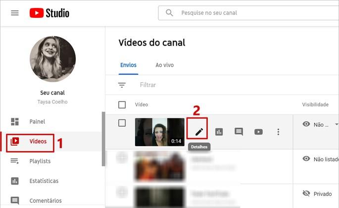 Tela com comandos do YouTube Studio