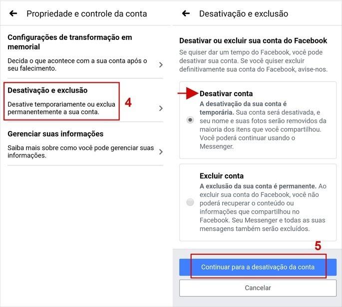 Passo a passo de como desativar conta do Facebook pelo app