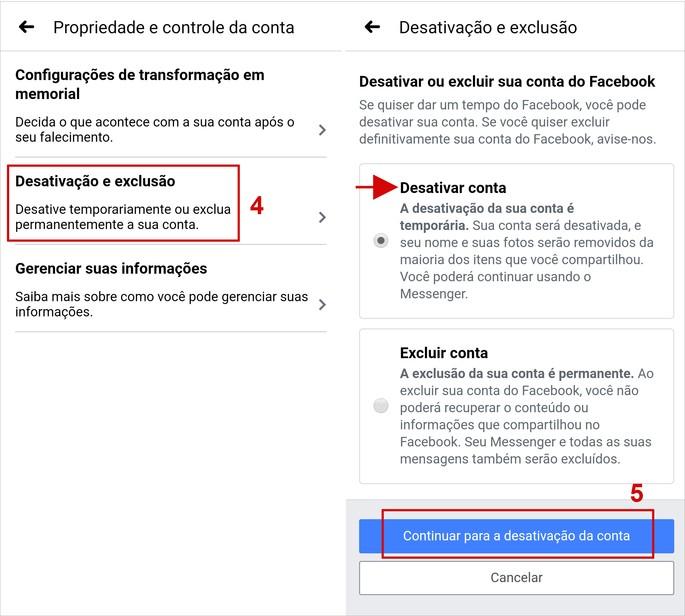 Etapa de como desativar conta no Facebook