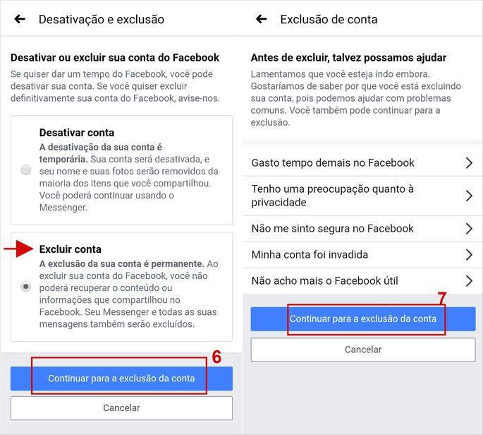 Como excluir conta do Facebook