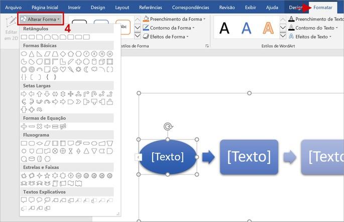Como alterar formas no fluxograma no Word