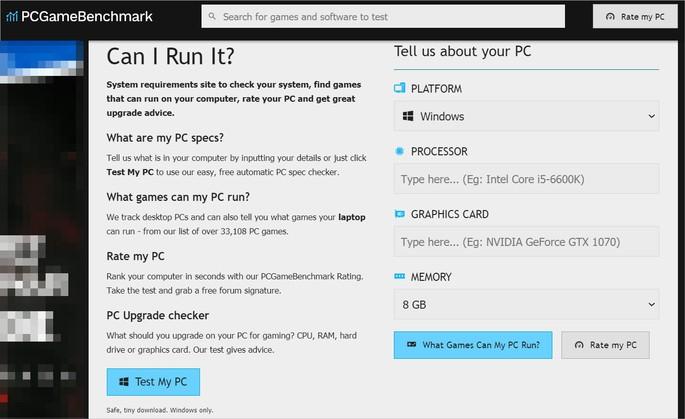 Captura de tela do site PCGameBenchmark