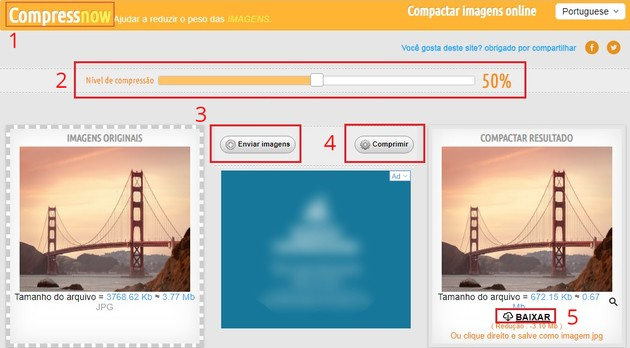 Compactar imagem com o Compress Now