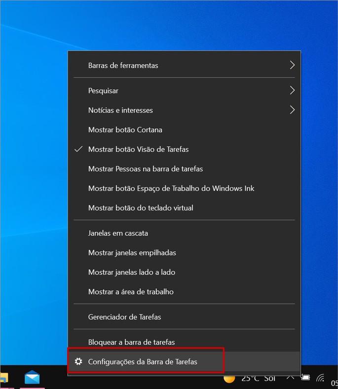 Como acessar as configurações da Barra de Tarefas do Windows