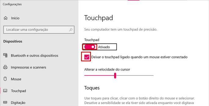 Configurações do touchpad no Windows