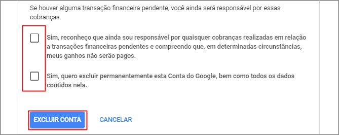 remover conta google