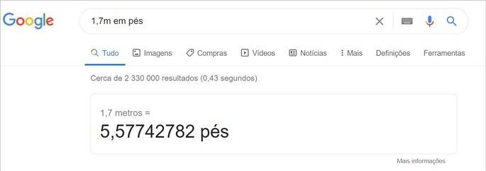 O Google converte medidas nas pesquisas