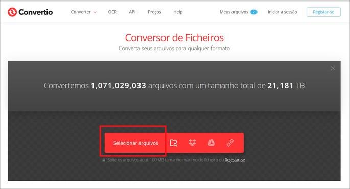Site de conversão de arquivos Convertio com destaque para o botão de upload