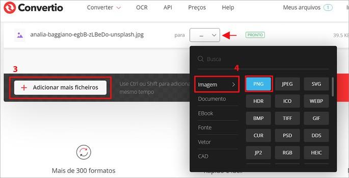 Como converter imagem no site Convertio