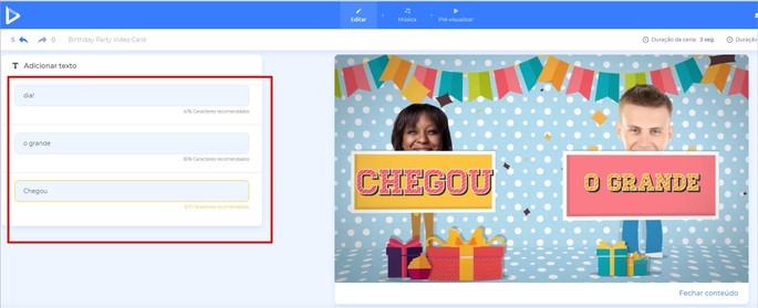 Editando o texto do convite animado no Renderforest