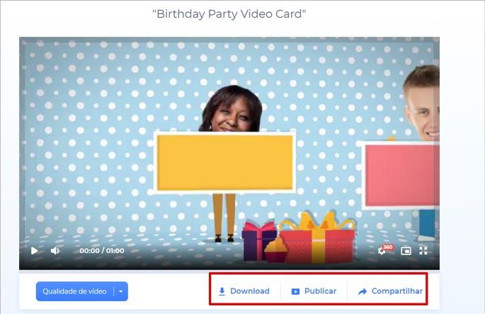 Salvar ou compartilhar convite de aniversário animado n