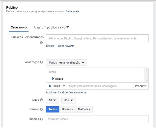Criar anúncio no Facebook e no Instagram