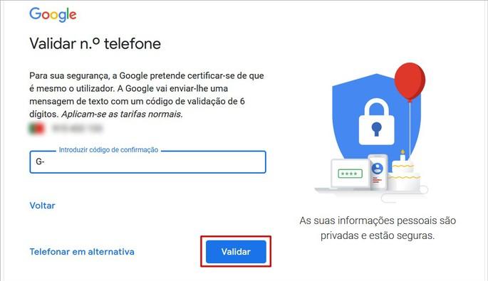 Validação do código de confirmação do Google para a criação de nova conta de e-mail