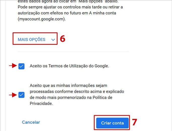 aceitar termos de uso do Gmail