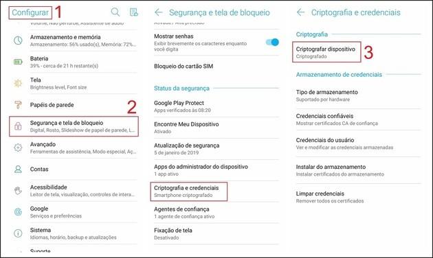 Criptografar celular Android