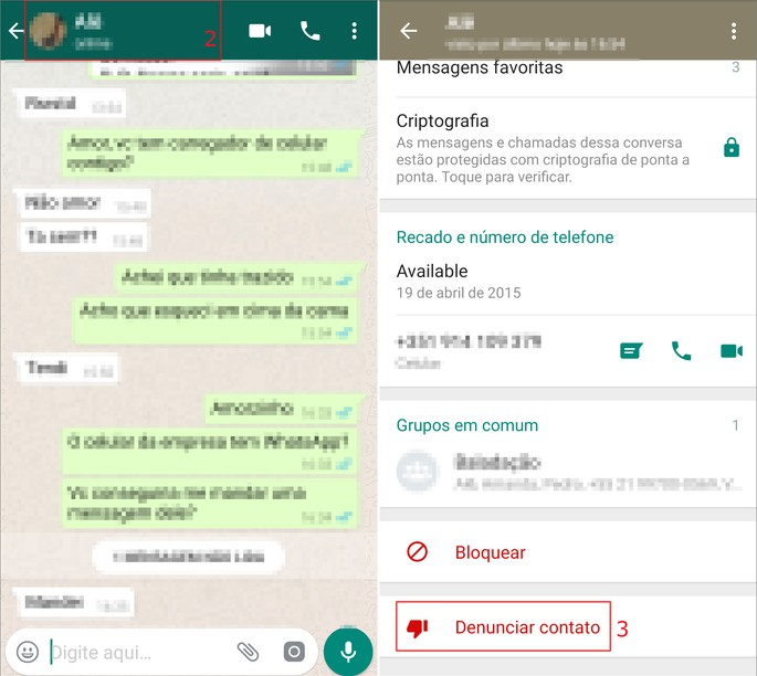 Denunciar spam whatsapp