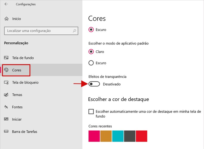Tela de Configurações de Personalização do Windows 10