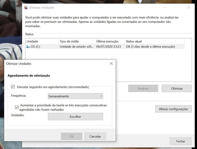 Tela com opções de desfragmentação de disco do windows