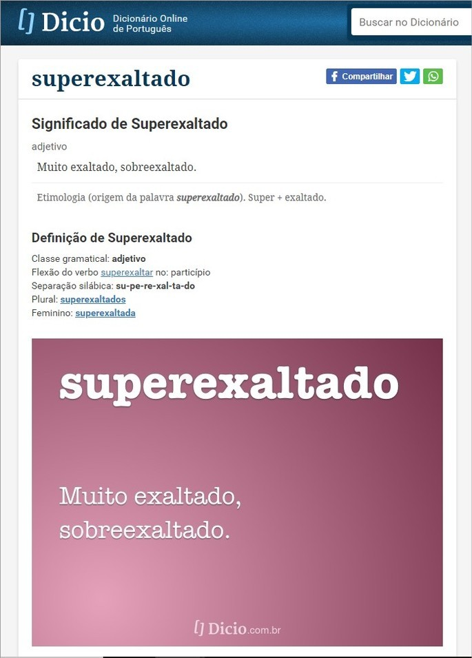 Interface do site Dicio.com.br com o significado da palavra superexaltado