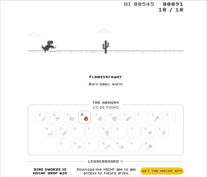 Interface do Dino Swords, versão com armas do Jogo do Dinossauro do Google