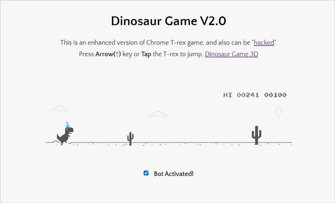 Dinosaur Game V2.0 é uma versão com hack do jogo do dinossauro, em que o personagem salta sozinho