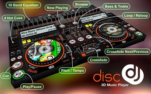 Aplicativo de DJ DiscDJ 3D