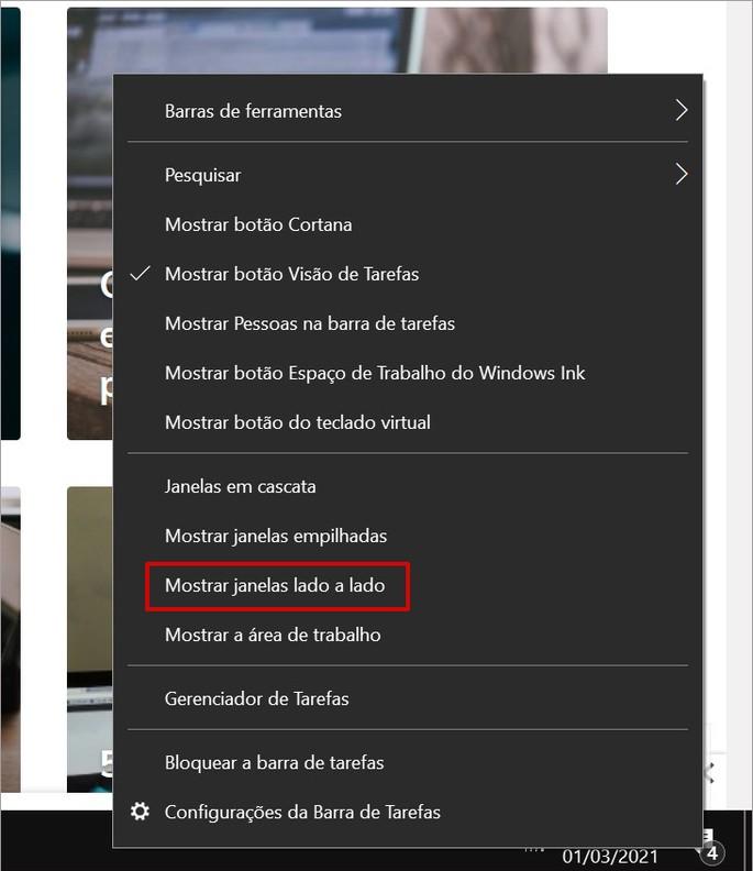 Opção de exibir janelas lado a lada do barra de ferramentas do Windows