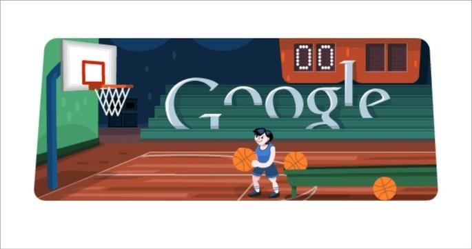 Doodle do Google de arremessos de bola na cesta de basquete
