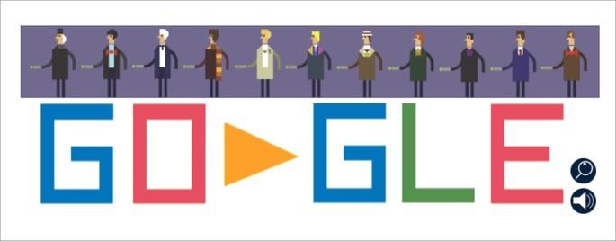 Doodle do Google de 50 aos da série Dr. Who