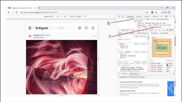 Salvar fotos e vídeos do Instagram com ferramentas de desenvolvedor no navegador