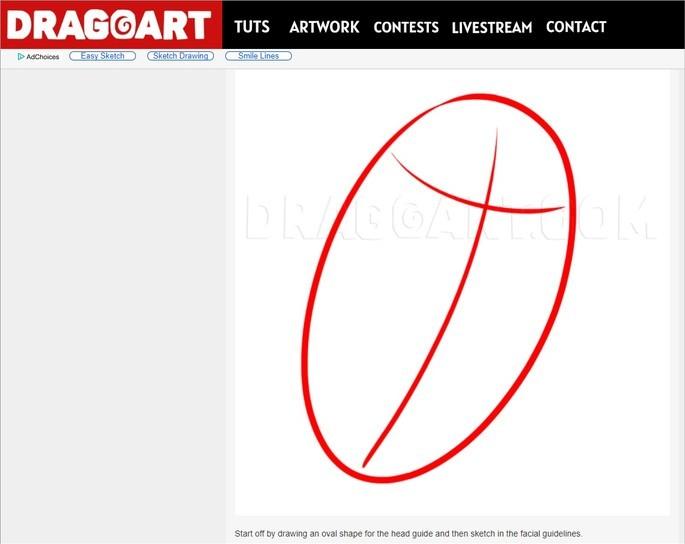 Etapa de tutorial do site Dragoart