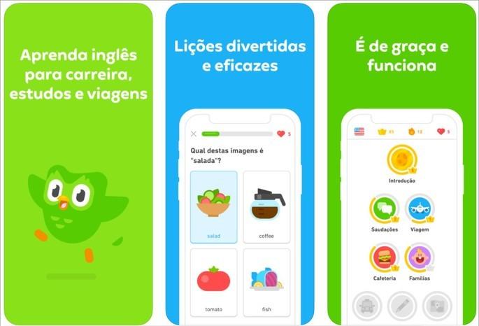 Imagem de divulgação do app de idiomas Duolingo