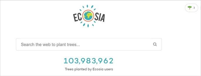 Página inicial do site de buscas Ecosia
