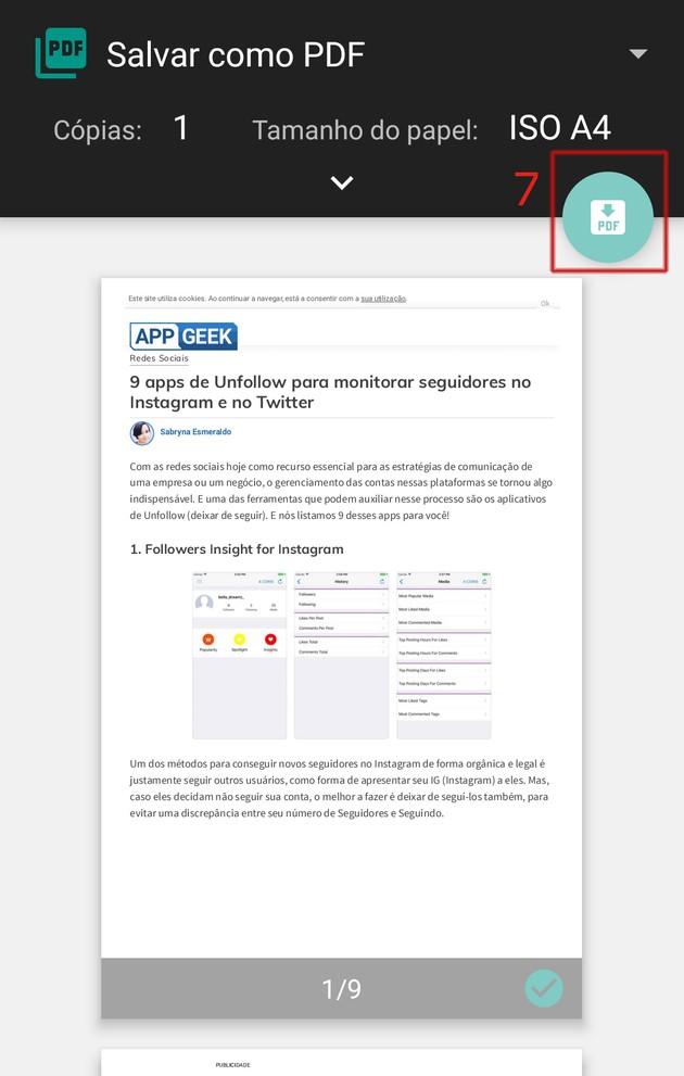 Baixar site em PDF no Edge mobile