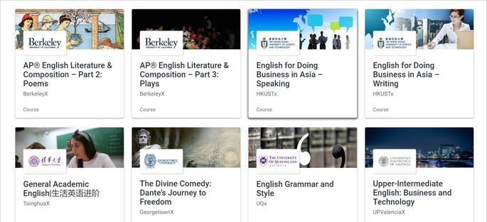 Opções de cursos de inglês da plataforma edX Courses