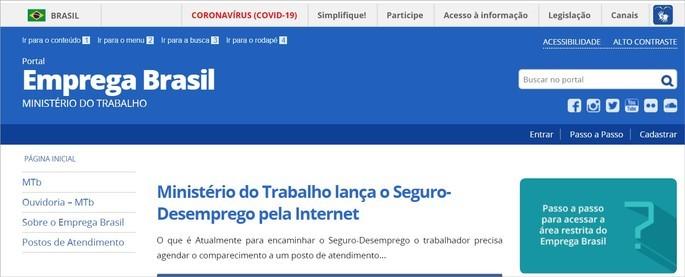 Site Emprega Brasil, do Ministério do Trabalho