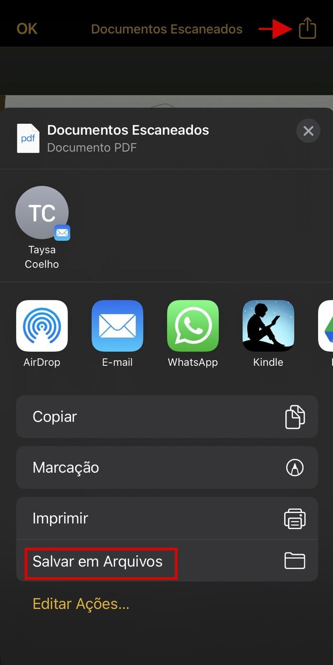 Como salvar o documento escaneado no iPhone