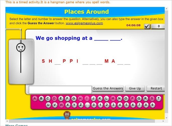 Captura de tela do site para aprender inglês ESL Games