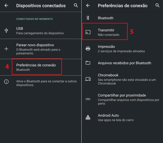 Configuração do Android para espelhar a tela do celular no PC com o app Conectar do Windows