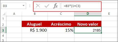 calcular porcentagem excel